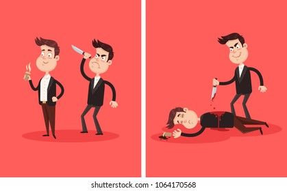 Angry bad employee colleague friend murder killing stabbing with knife boss businessman partner character in his back behind. Crime betrayal accident business career competition concept. Dead bloody