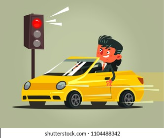 Angry bad rushing driver car man character braking violation low rules and riding on red traffic light. Transportation driving problems flat cartoon illustration graphic design concept