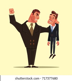 Angry bad strong office worker businessman character beats the weak one. Competition concept. Vector flat cartoon illustration