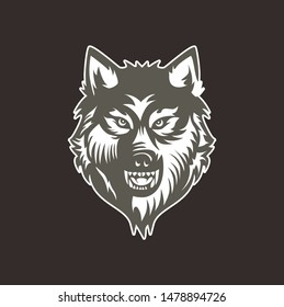 angry bad wolf head vector for esport logo