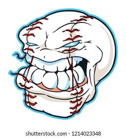 Angry Baseball or Softball Head Mascot