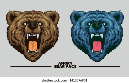angry bear face on illustration