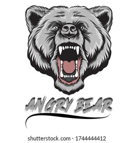 angry bear grayscale simple vector