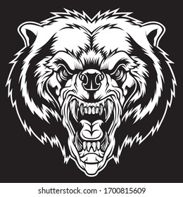 Angry bear head mascot. Vector illustration for use as print, poster, sticker, logo, tattoo, emblem and other.