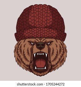 Angry bear head  vector illustration for your company or brand