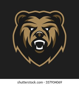 Angry Bear, logo, symbol on a dark background.