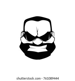 Angry beard man face with sunglass vector drawing black
