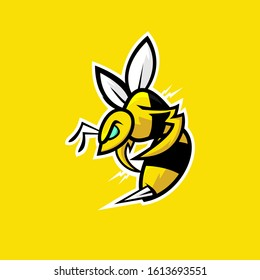 angry bee modern vector illustration for mascot or e sports logo