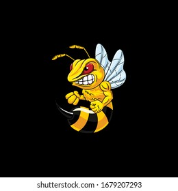 Angry bee ready to attack. Vector illustration.