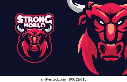 angry bison sports logo mascot illustration