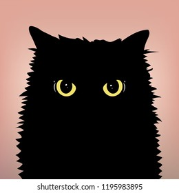 Angry black cat with big eyes. Cat face with yellow eyes. Front view. Flat and minimal style. Vector Illustration.