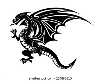 Angry black dragon tattoo isolated on white background. Vector illustration
