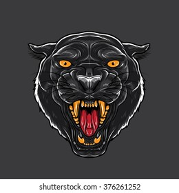 Angry Black Panther with open mouth showing canine.