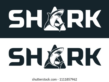 Angry black or tiger shark silhouette mascot character  vector illustration isolated on white background. Perfect to use for printing on tshirts, mugs, caps, logos, mascots or other advertising design
