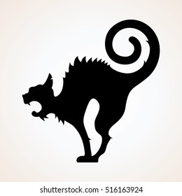 Angry Black Witch Cat. Cat Vector Silhouette