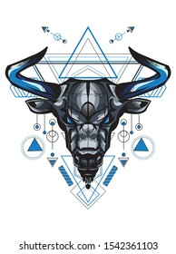 Angry Blue Bull with Sacred Geometry for shirt poster tattoo logo and mascot