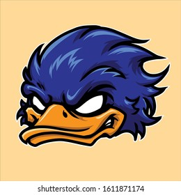 Angry Blue duck Head Mascot Vector Illustration