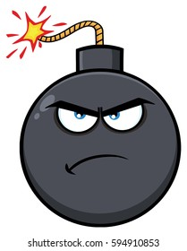 Angry Bomb Face Cartoon Mascot Character With Expressions. Vector Illustration Isolated On White Background