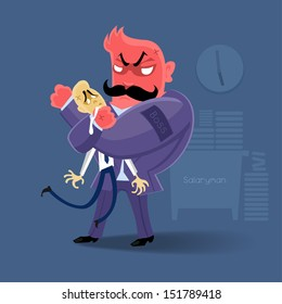 angry Boss  action to salaryman in working business time | manage work hard by danger