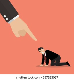 Angry boss being complaining to desperate businessman. Vector Illustration