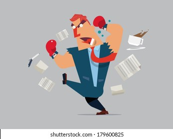 angry boss - business man - employee - Vector illustration of cartoon