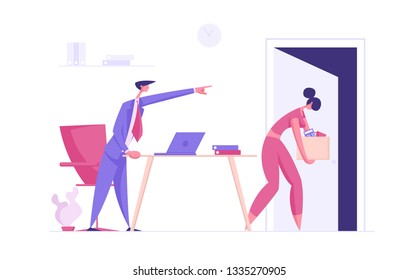 Angry Boss Character Firing Employee. Fired Frustrated Business Woman. Unemployment, Dismissal, Jobless Concept. Vector Cartoon illustration