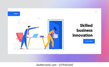 Angry Boss Character Firing Employee Banner. Fired Frustrated Business Woman. Unemployment, Dismissal, Jobless Concept. Corporate Office Work Website Landing Page. Vector Cartoon illustration