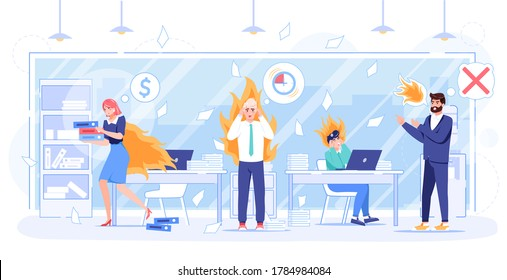 Angry boss cheif yelling on working overtime employee. Businesspeople with fire on head, back at workplace. Burning missing deadline high stress condition in office. Wrong time management
