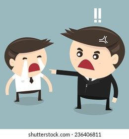 Angry boss and cry employee, flat design, vector