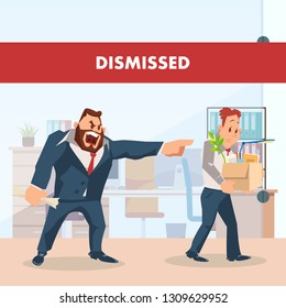 Angry Boss Dismiss Sad Employee. Unemployed Man. Fired Upset Worker Character Carry Carton Box with Stuff or Belongings. Manager in Suit Yell at Jobless Guy. Flat Cartoon Vector Illustration
