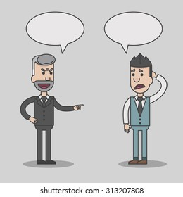 Angry boss and employee cartoon with speech bubbles, vector, illustration