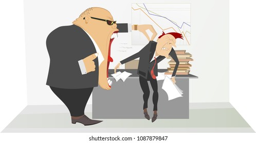 Angry boss and employee illustration. Angry chief scolds his frightened employee holding him by the collar of the jacket illustration vector
