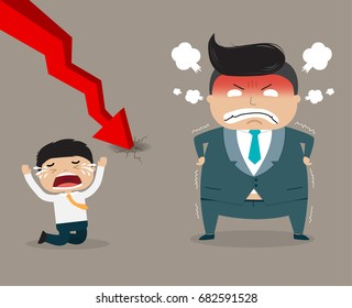 Angry boss and employee with red arrow down
