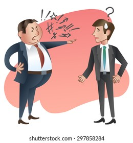 Angry boss with employee. Vector illustration