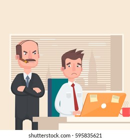 Angry Boss looks at the employee. Vector illustration in a flat style.