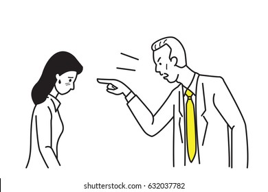 Angry boss, manager, businessman, complaining businesswoman who can be secretary, businesswoman, office worker, by pointing at her face in anger emotion. Line draw and sketch design style.