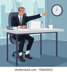 Angry boss or Manager sitting at workplace and points to wall clock. Three quarters and full body view. Being late to work concept. Simplistic realistic comic art style. Vector illustration