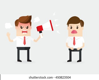 angry boss or manager upset shouting with a megaphone to employees, moody customer being complaining to businessman