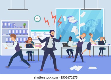 Angry boss in office flat vector illustration. Frightened employees shocked by furious top manager cartoon characters. Stressful working environment concept. Missing deadlines, finding guilty workers