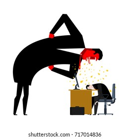 Angry Boss is scolding manager. Office life. Businessman screaming at subordinate. Desktop at computer. Punishment at work. Vector illustration