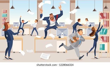 Angry boss screams in chaos at his subordinates. Stressed vector cartoon characters. Office workers hurry up with job. Fun cartoon characters. Vector illustration of work situation.
