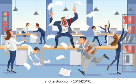 Angry boss shout in chaos office because of failure deadline. Stressed vector cartoon characters. Office workers hurry up with job. Fun cartoon characters. Vector illustration of work situation.
