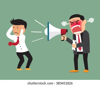 Angry boss shouting at employee on megaphone, good and bad concept worker vector illustration.