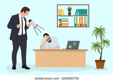 Angry Boss is shouting to his employee man via megaphone. Office deadline problem. Vector flat cartoon illustration.