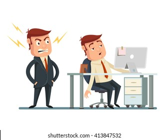 Angry boss. Vector flat cartoon illustration