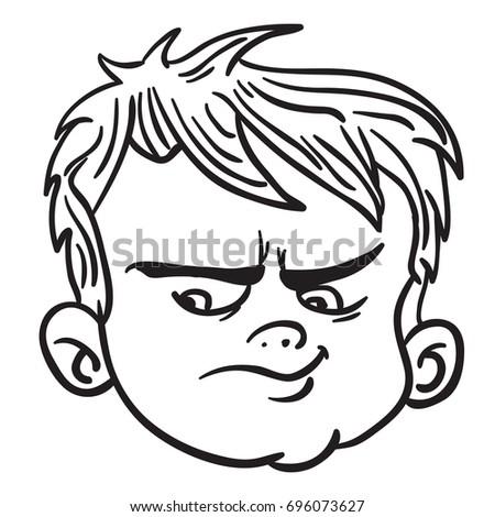 Angry Boy Face Black White Cartoon Stock Vector Royalty Free