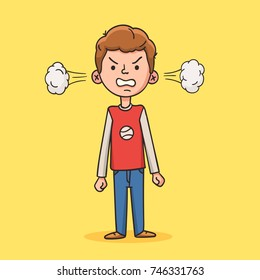 Angry boy with steam from his ears looking at you. Negative human emotion, Facial expression, Aggressive behavior. Depressed nervous condition. Vector illustration in cartoon style