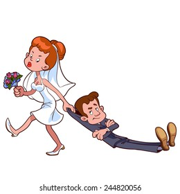 Angry bride drags the groom  to get married. Cartoon characters. Vector clip-art illustration on a white background.