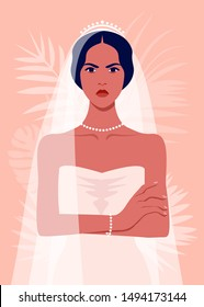 An angry bride is standing with arms crossed. The girl in a wedding dress and with a veil. Vector flat illustration
