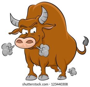 Angry brown bull illustration